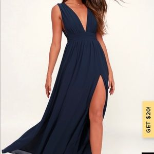 Lulus Heavenly Hues Navy Blue Maxi Dress